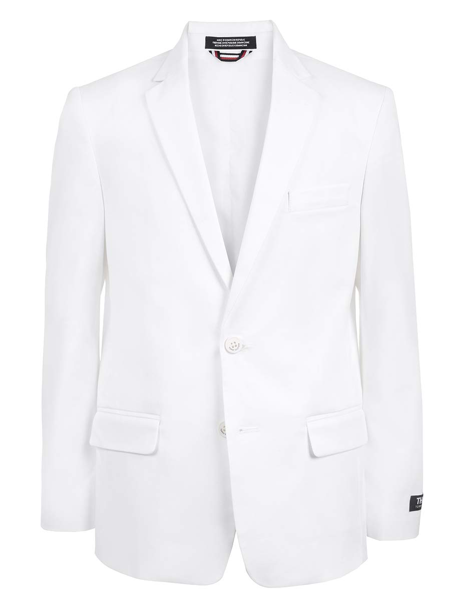 Tommy Hilfiger Boys Twill Blazer Jacket, fine White 10