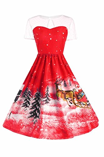 Dress Evening Christmas Tunic Short Tree Lace Cocktail Women Red Sleeve Neck Party Skirt AEETE qB6fxXx