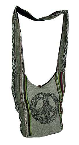- Mod Peace Sign Tribal Stripe Boho Cotton Crossbody Bag