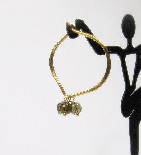 Smokey Quartz Gold Hoop Earrings, Medium, Gold - Smoky Earrings 24k
