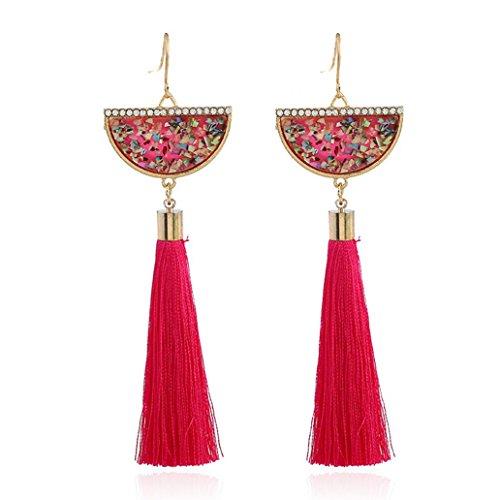 Trenton Womens Retro Rhinestone Ethnic Tassel Dangle Hook Earrings for Statement (Rose Red) ()
