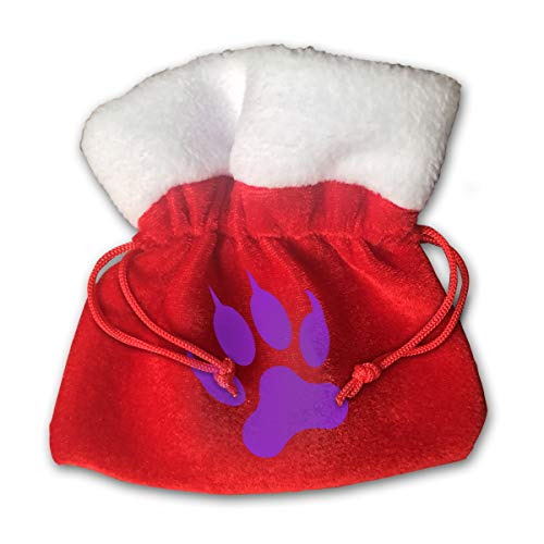 Beauty Paw Pointed Claw Print Christmas Candy Gifts Sack Santa Gift Treat Kids Drawstring Present Bag Tote Ornament Decoration Made Gold Velvet -Special ()