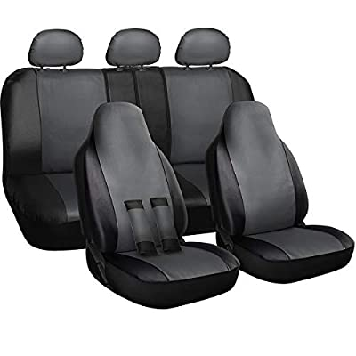 Motorup America Auto Seat Cover Full Set - Fits Select Vehicles Car Truck Van SUV - Newly Designed PU Leather - Gray & Black