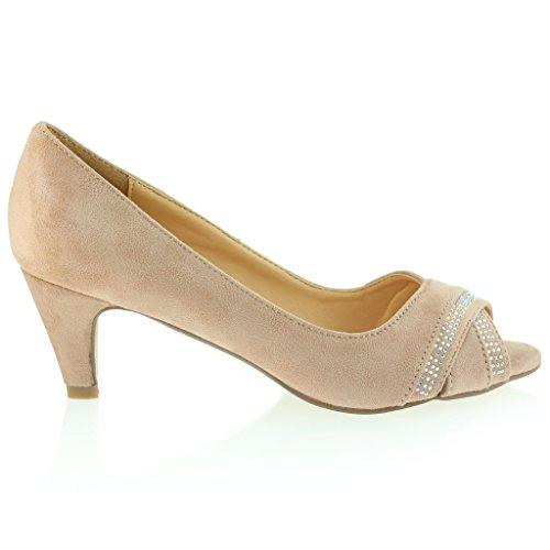 Mujer Señoras Noche Casual Diamante Cross Over sobre Peeptoe Tacón Medio Sandalias Zapatos Talla Rosado