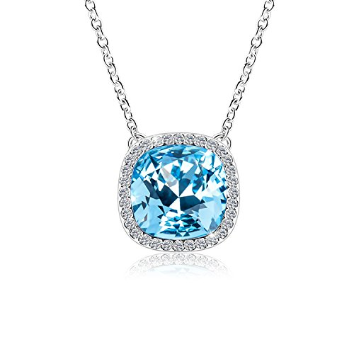 Alantyer Birthstone Necklace Pendant with Blue Square Swarovski Aquamarine Crystal, Birthday Jewelry Gift for Women, Daughter, Sister and (Swarovski Crystal Long Necklace)