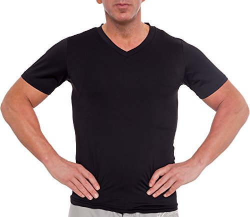 Short Sleeve Undergarment - Men's Slimming Light Compression V-Neck Shirt - Short Sleeve Body Shaper T-Shirt for Gynecomastia, Weight Loss (Black, Small)