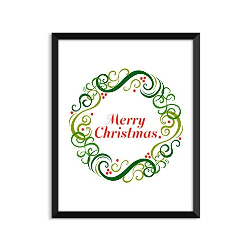 Merry Christmas - Wreath - Unframed art print poster or greeting card