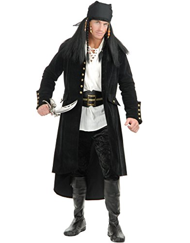 Teen Treasure Island Pirate Costumes (Mens Small 36-38 Treasure Island Black Pirate Duster Jacket Trench Coat)