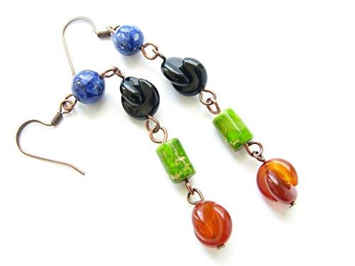Long Dangling Carnelian Black Onyx Multi Gemstone Earrings Colorful Blue Green Semi Precious (Green Precious Stone)