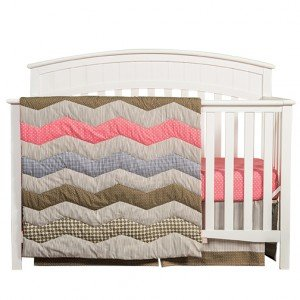 Cocoa Coral 3 Piece Crib Bedding Set for Baby Girl by TippyToesNYC
