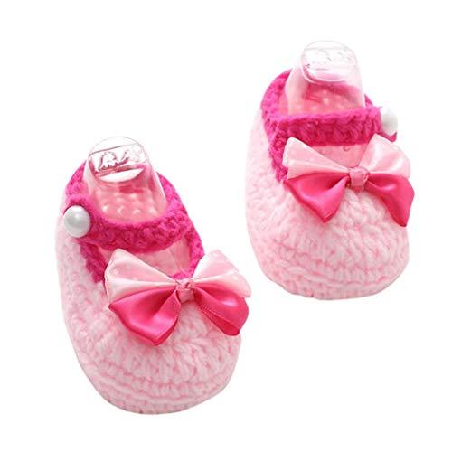 Baby Girls Handmade Knit Sock Crochet Christening Baptism Crib Shoe with Satin Ribbon Bow (A, AS shown) ()