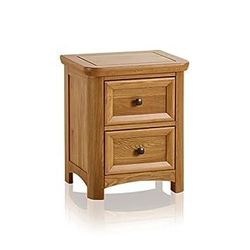 Oak Furniture Land Wiltshire Natural Solid Oak 2 Drawer Bedside