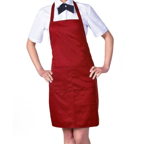 Price comparison product image Women's Chefs Butchers Kitchen Cooking Craft Baking Apron with Front Pocket (Red)