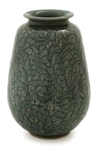 NOVICA Floral Celadon Ceramic Vase, Blue, 'Botanical Blue' by NOVICA (Image #3)