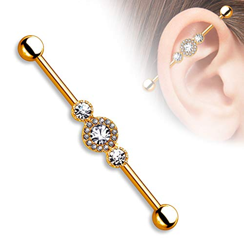 rini_mc2 1 Pc Three Rose Gold CZ Paved 14K Gold Plated on Surgical Steel Industrial Barbell 14g 1.5