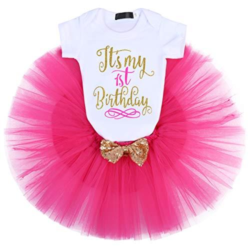 IBTOM CASTLE Baby Girl It's My 1st/2nd Birthday Cake Smash 3Pcs Shinny Sequin Bow Romper+Tutu Skirt+Headband+Leg Warmer Outfit Hot Pink(1 Years)(3pcs) One -