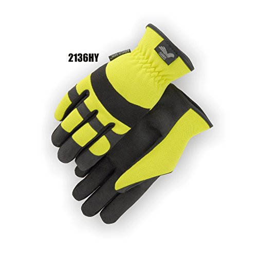 (12 Pair) Majestic SLIP ON SYNTHETIC PALM GLOVES WITH HIGH VISIBILITY YELLOW BACK - XTRA LARGE, YELLOW(2136HY/11) by Majestic (Image #1)
