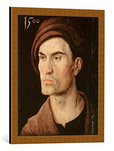kunst für alle Framed Art Print: Albrecht Dürer Bildnis eines Jungen Mannes - Decorative Fine Art Poster, Picture with Frame, 19.7x23.6 inch / 50x60 cm, Copper Brushed