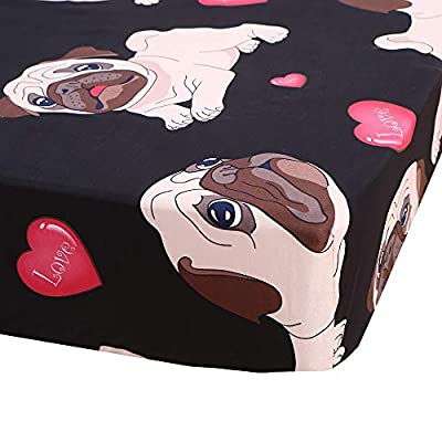 SDIII 3PC Dog Bedding Sheet Sets Twin Size Animal Bed Sheets with Flat Fitted Sheet for Boys, Girls and Teens: Home & Kitchen