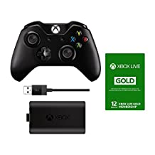 Xbox LIVE 12 Month Gold Membership Card and Xbox One Wireless Controller with Play & Charge Kit