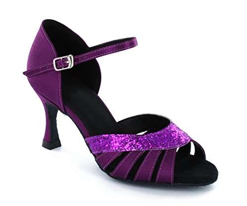 Latin Womens Ballroom Classic Purple Salsa TDA Satin Shoes Comfort Dance xIwCOdq