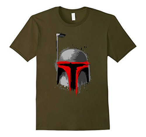 Mens Star Wars Boba Fett Dripping Paint Helmet Graphic T-Shirt Medium Olive