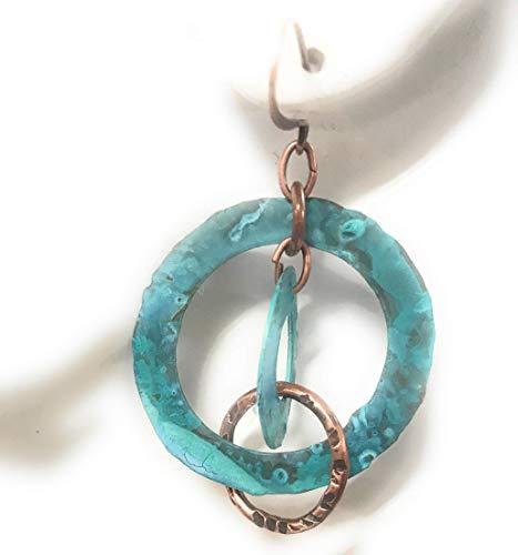 Waterfall Boho Blue Verdigris Patina Hoop Earrings in Copper Gift Ideas for Women ()
