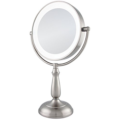 Zadro Satin Nickel Dual Sided Led Lighted Dimmable Touch Vanity Mirror, 12X / 1X Magnification by Zadro (Image #1)