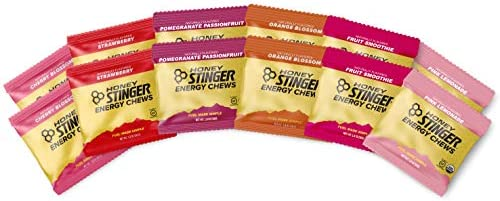 Honey Stinger Organic Energy Chews Variety Pack with Sticker 12 Count Cherry Blossom, Strawberry, Fruit Smoothie, Pink Lemonade, Pomegranate Passionfruit Orange Blossom
