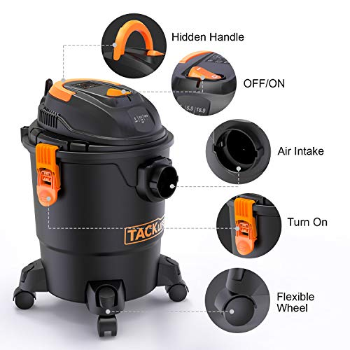 TACKLIFE Wet Dry Vacuum, 5 Gallon, 5.5 Peak HP with 20 FT Clean Range, 4-Layer Filtration System and Safety Buoy Technology for Dry/Wet/Blowing, Multipurpose Accessories Included - PVC01A by TACKLIFE (Image #1)