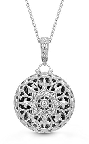 Sterling Silver-Diamond-Round-Custom Photo Locket Necklace-22-inch chain-The Beatrice by With You Lockets by With You Lockets