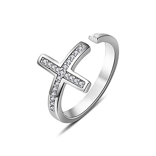 Cross Ring Fashion Religious (WUSUANED Christian Sideways Cross Adjustable Cuff Ring Religious Gift for Womens Girls (Cross Ring))