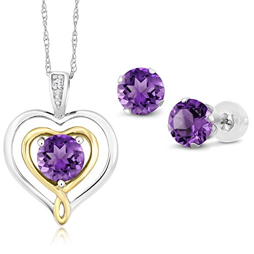 10K Two Tone Gold 1.86 Ct Purple Amethyst and Diamond Pendant Earrings Set by Gem Stone King