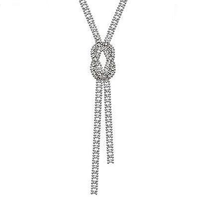 Z-Jeris Women Trendy Crystal Pendant Long Chain Tassel Necklace