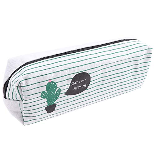 ToyMYTOY - Estuche de lona para lápices de cactus, Kawaii, estuche de papelería, bolígrafos, suministros escolares,...