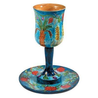 Yair Emanuel | Large Wooden Kiddush Cup and Saucer Set | 7 Species Design | CU-3