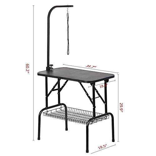 Yaheetech Pet Dog Grooming Table Adjustable Height - 32'' Drying Table w/Arm/Noose/Mesh Tray for Small Dogs Cats Portable Non-Slip Maximum Capacity Up to 220lbs Black by Yaheetech (Image #1)'