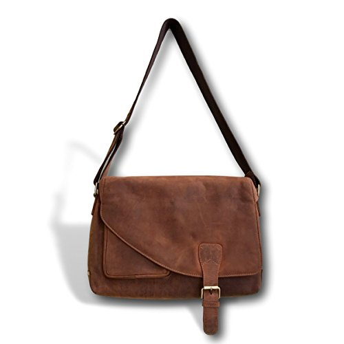 (Genuine Soft Leather Messenger Bag | Handmade 16