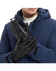 Leather Gloves Men Full Finger Touchscreen Winter Driving Warm Gloves, Fleece Lining, Black, L