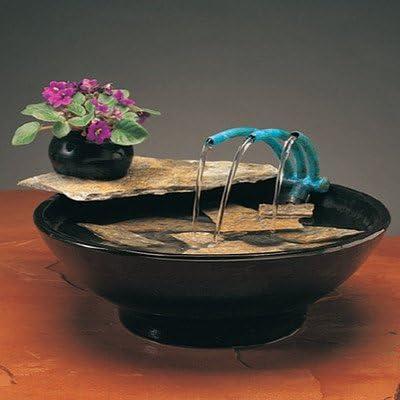 Nayer Kazemi Ceramic Nature Bowl Tabletop Fountain Fogger Small Metal Stands 24 Round Leg Finish Black Garden Outdoor
