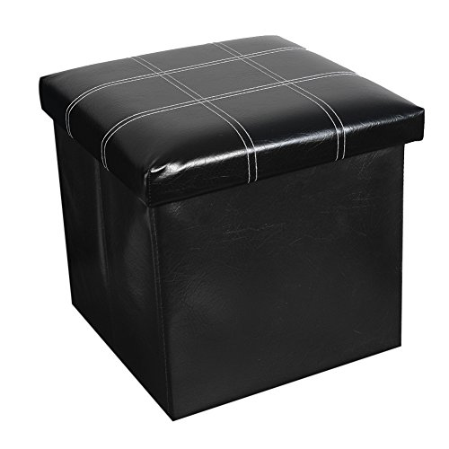 Valorcielo Folding Storage Ottoman Coffee Table Foot Rest Stool, Faux Leather Collapsible Bench, Brown Black (Balck, M)