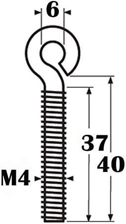 /Ösenschraube M4 aus Edelstahl A4-AISI 316 mit metrischem Gewinde M4-40 mm lang 100 x Ringschraube