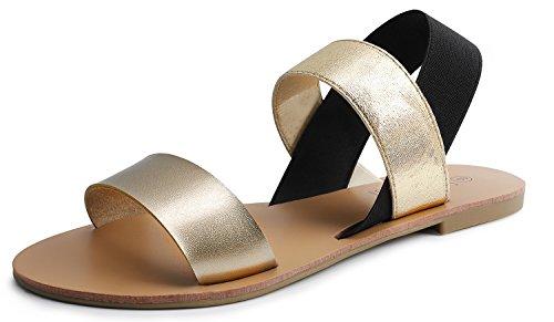 (SANDALUP Elastic Insert Slingback Flat Sandals for Women Golden-Black)