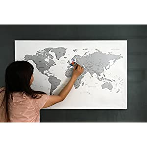 Around the World – Mapa del mundo personalizable para rascar, 970 x 600 mm, color plata