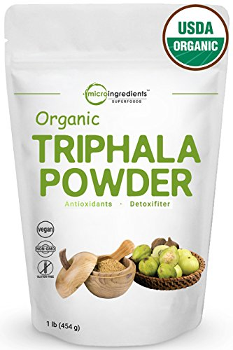 USDA Organic Triphala Powder, 1 Pound - Powerfully Supports Healthy Digestion and Promotes Absorption. Balancing Formula for Detoxification & Rejuvenation. Non-GMO and Vegan Friendly.