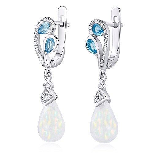 Boucles d'oreilles en argent avec blanc opale et véritable topaze bleue