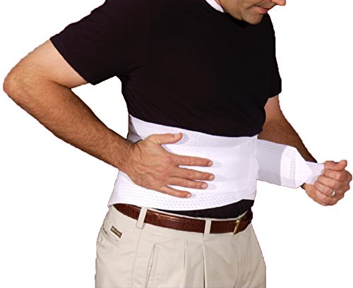Alpha Medical Back Brace With Ventilated Elastic/Lumbosacral Support/Abdomen Support - Cool Elastic Material. L0625 (Medium White) by Alpha Medical