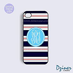 Monogram iPhone 6 Case - 4.7 inch model - Blue Pink Multi Stripes Circle iPhone Cover
