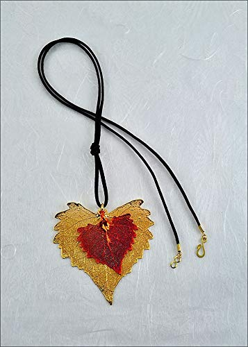 Gold Double Cottonwood Leaf Necklace on Leather Cord, Real Leaf Jewelry | Real Leaf - Leaf Cottonwood Necklace
