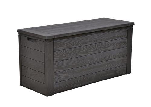 Auflagenbox 300 Liter in Schwarz Holzoptik